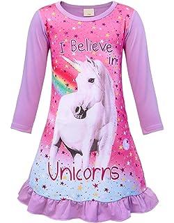 Jurebecia Unicornio Pijama Vestidos camisón con Manga Corta en Manga Larga Vestido para niñas