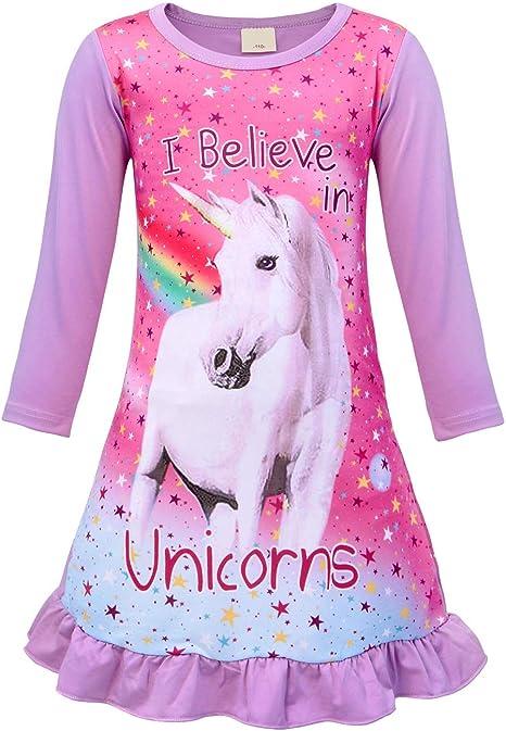 Jurebecia Chemise de Nuit imprim/ée Unicorn Rainbow pour Filles V/êtements de Nuit et Peignoirs Pyjama