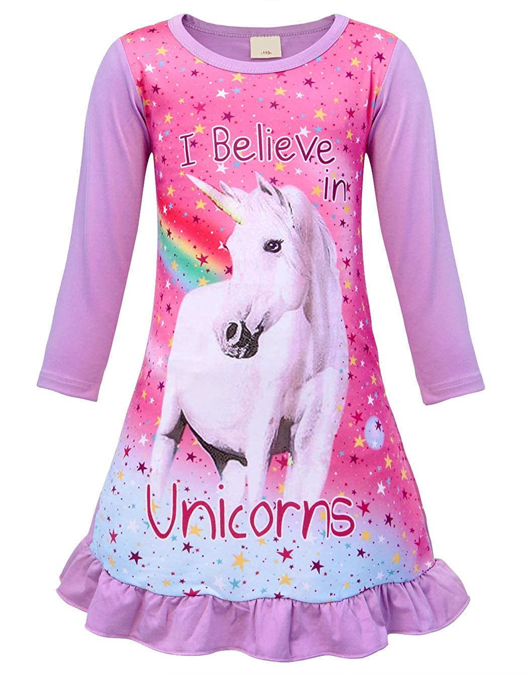 AmzBarley Girls Unicorn Nightgown Long Sleeve Unicorns Stary Nighties Night Dress Cotton Dressing Gown Nightgowns Nightie Sleepwear Casual Homewear Halloween Birthday Costume