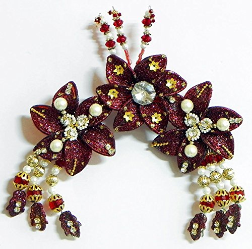 DollsofIndia Maroon Flower Head Piece with Beads and Stone (IL23) Hair Accessories at amazon