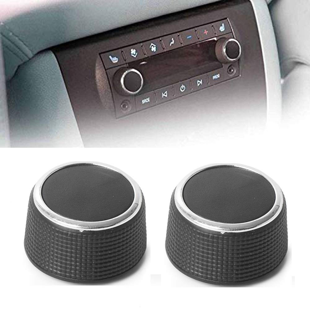 Mallofusa 2pcs Rear Control Knobs Audio Radio Compatible for Chevrolet Suburban 1500 2007-2013 GMC Sierra 2500HD 2007-2014 Cadillac Escalade 2007-2011 Buick Enclave 2009-2013 Black