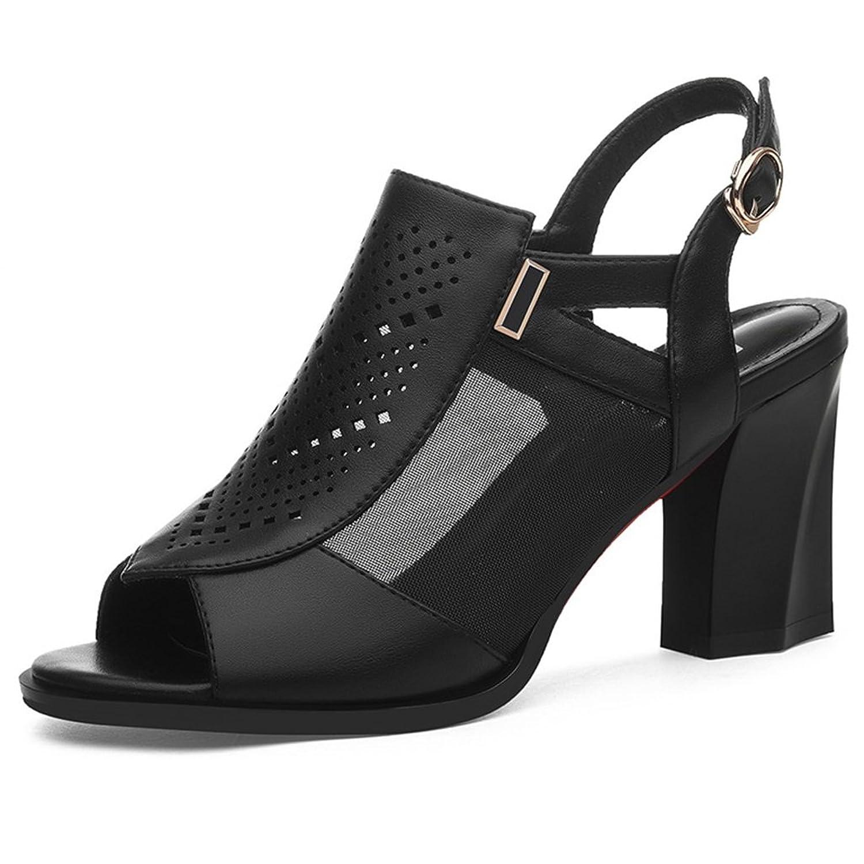 SANDALIAS Primavera Verano Malla PU + Upper Vamp Mujer Medio Talón Talón  Grueso Zapatos De 7def01704827