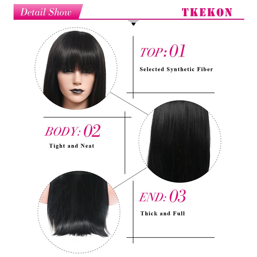 BERON Short Curly Wigs Fashion Wavy Bob Wigs with Side Bangs Short Full Synthetic Wigs for Black Women (Black) by BERON (Image #7)
