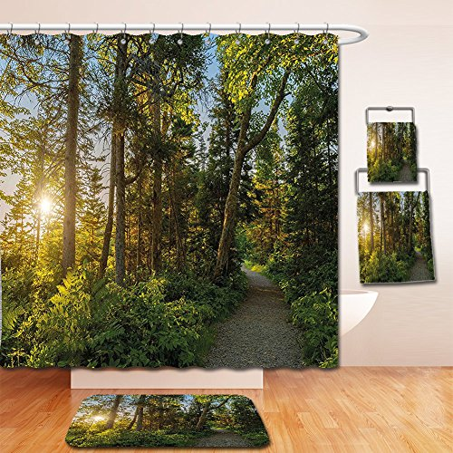 Shower Highland Cotton Curtain (Nalahome Bath Suit: Showercurtain Bathrug Bathtowel Handtowel Landscape National Park in Cape Breton Highlands Canada Forest Path Trees Tranquility Photo Blue Green)