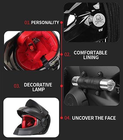 Four Seasons Unisex,L Schwarzer Cooler Predator Motorradhelm,Pers/önlichkeit Alien Warrior Dekorative Lampe Integralhelm Mit Klappe,DOT ECE Zertifizierter Helm