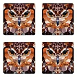 Ambesonne Geometric Coaster Set of Four, Mosaic Owl Head in Linked Triangle Forms Retro Style Funky Geometric Boho Decor, Square Hardboard Gloss Coasters for Drinks, Brown Orange