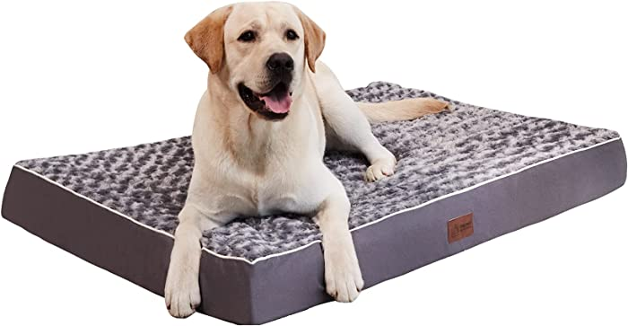 Western Home Orthopedic Dog Bed for Medium, Large and Jumbo Dogs up to 90 lbs, Thick Egg-Crate Foam Dog Beds with Removable&Washable Cover, Calming Dog Bed with Non-Slip Bottom, Grey
