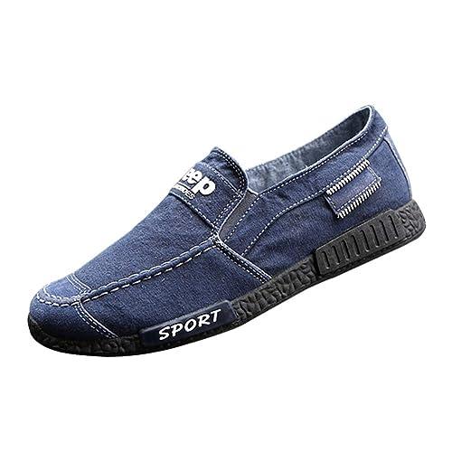 Huatime Casual Lona Zapatos Hombre - Hombres Slip On Cordones Planas Zapatos Resbalón Zapatillas Conducción Calzado Entrenadores Deportes Alpargatas Running ...