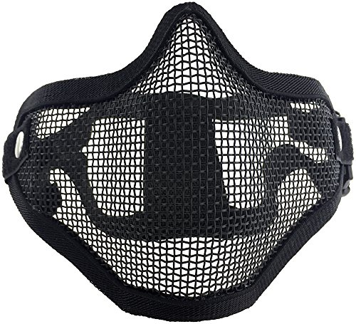 [SportPro Mesh Lower Face Half Face Mask for Airsoft - Black] (Smiley Horror Mask)
