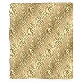 VROSELV Custom Blanket Beige Damask Patterns Weaving Byzantine Islamic Antique Lace Floral Motifs Nostalgic Retro Chic Deco Soft Fleece Throw Blanket Beige