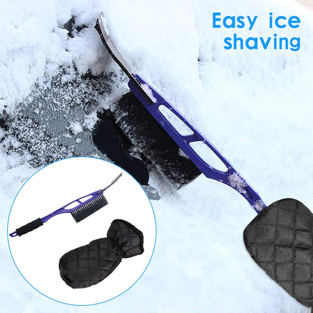 Kaufam Ice Scraper with Mitt for Car Windshield Snow Brush Waterproof Snow Remover Warm Glove for Car Window and Roof Bumpers 3 Pack Set