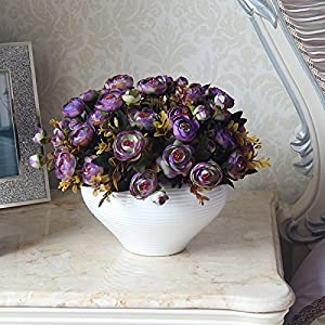 Situmi Artificial Fake Flowers Camellia Decorated In A Minimalist Style Purple Home Accessories 77