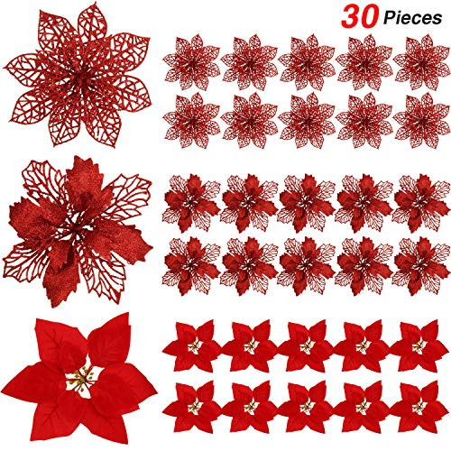 WILLBOND 30 Pieces Glitter Poinsettia Artificial Christmas Tree Ornament Christmas Flowers for Xmas Valentine's Day Spring Festival Wedding Decorations (Red) (Day Poinsettia)