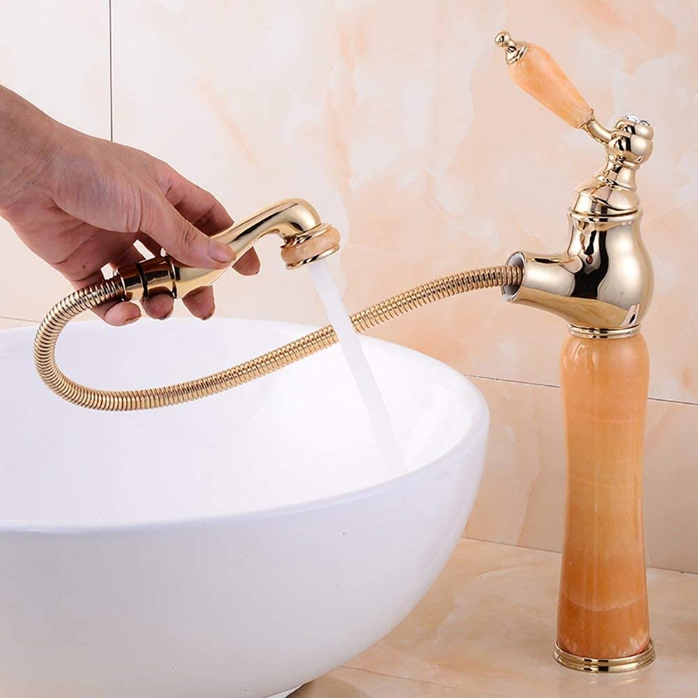 KMMK Home Hotel Bathroom Sink Water-Tap-Basin Faucet All Copper Single Handle Pull-Out Basin Mixer Heighten Jade Bowlder Stone,Sink Mixer Faucet,Coffe Green Stone Basin Taps