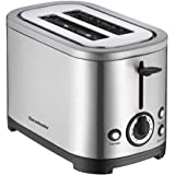 Homeleader Toaster with 2 Slices of Bread, Stainless Steel Double-Slot Toaster, 7 Levels of Tanning, Removable Crumb Tray, 700W, Silver