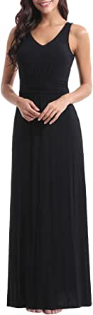 Zattcas Womens Double V Neck Sleeveless Ruched Waist Casual Long Party Maxi Dress