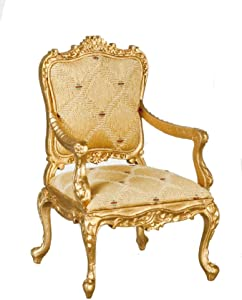 Melody Jane Dolls Houses Dollhouse Gold Louis XV Rococo Armchair Miniature JBM Living Room Furniture