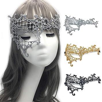 VJUKUBCUTE Paquete De 3 Mujeres Sexy De Medio Rostro Un Ojo Vintage Encaje Mascarada Disfraces Máscaras