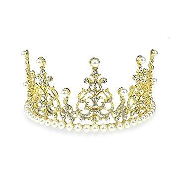Zhi Jin perla cristal perla princesa corona pelo tarta de cumpleaños para horno decoración para fiesta de boda diadema: Amazon.es: Hogar