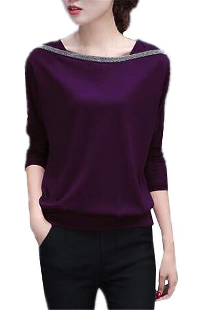 Tayaho Camisa De Manga Larga Mujer Camisetas Patchwork Universidad Blusa Casual Sencillos T Shirt Corto Elegantes Tops Joven Bonitas: Amazon.es: Ropa y ...