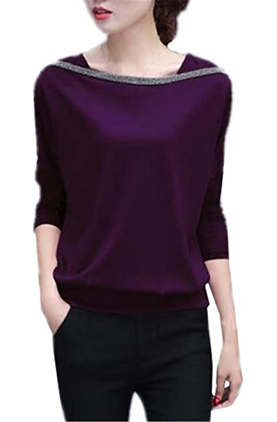 Tayaho Camisa De Manga Larga Mujer Camisetas Patchwork Universidad Blusa Casual Sencillos T Shirt Corto Elegantes