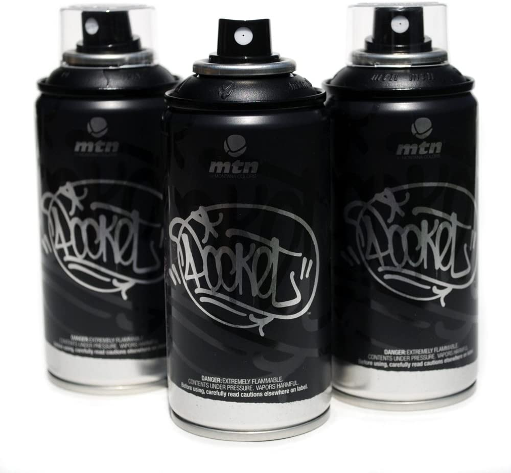 Mtn Pocket Spray Paint Set Of 3 High Pressure Cans For Graffiti Street Art 150ml Silver