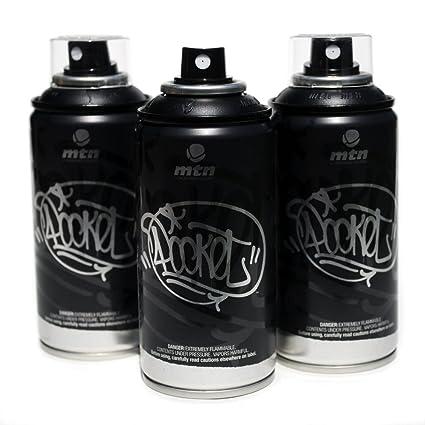 MTN Pocket Spray Paint Set of 3 High Pressure Cans for Graffiti Street Art  150ml (Black)