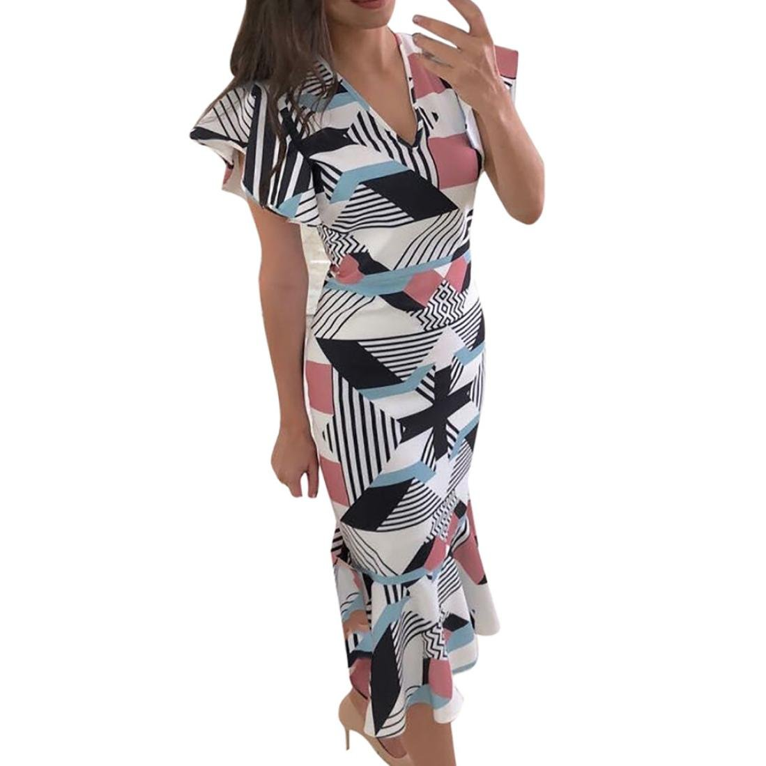 Minisoya Women Ruffle Sleeve Geometric Printed Office Pencil Dress Bodycon Casual Cocktail Party Mermaid Dress (Multicolor, L)