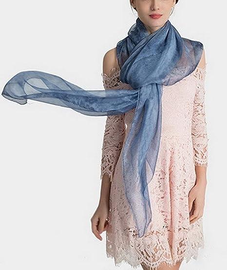 504211f4f1ac Bigood Couleur Uni Vogue Écharpe Imitation Soie Châle en Plage Foulard  Élégance Bleu  Amazon.fr  Vêtements et accessoires