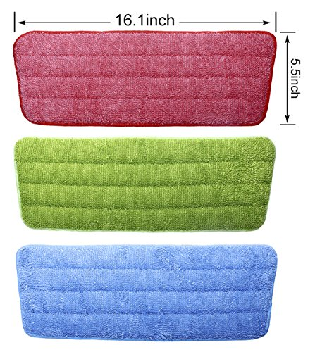 Shapenty 3 Colors Flat Microfiber Spray Mop Pads Refills Replacement Washable Dust Mops for Wet Dry Hardwood Floor Cleaning, 3 Pack by Shapenty (Image #2)