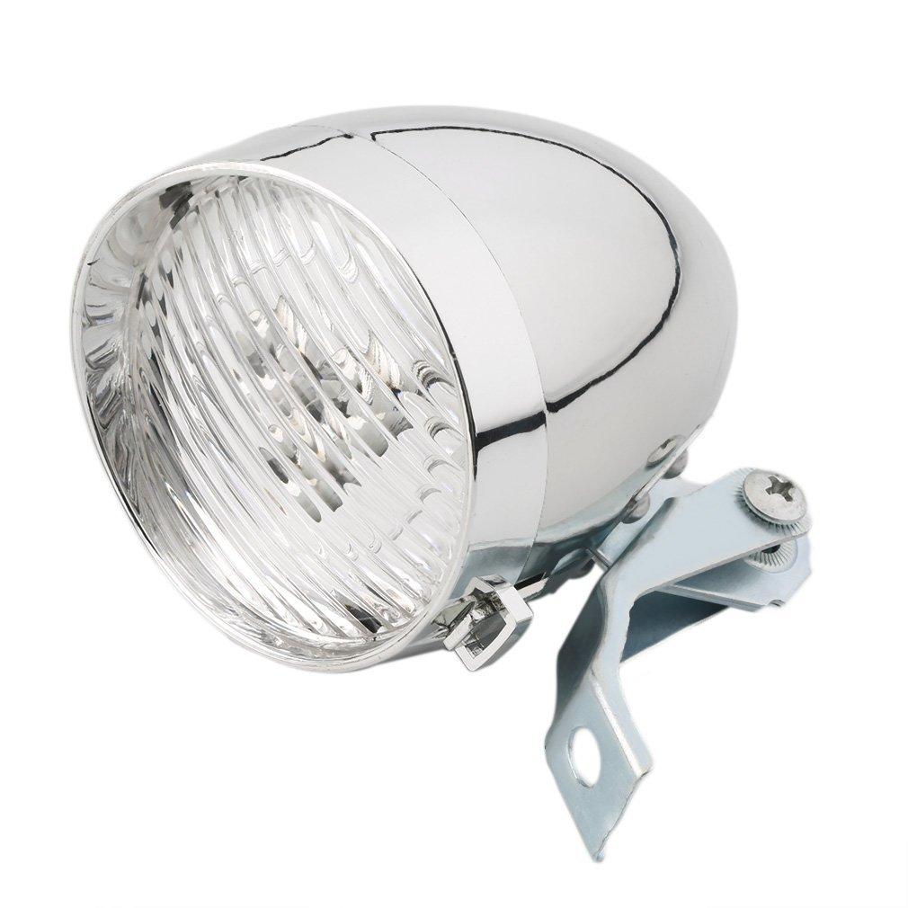 top-spring 3 LED自転車自転車明るいフロントライトヘッドライトヴィンテージ懐中電灯ランプ(シルバー) B079KDR3WD