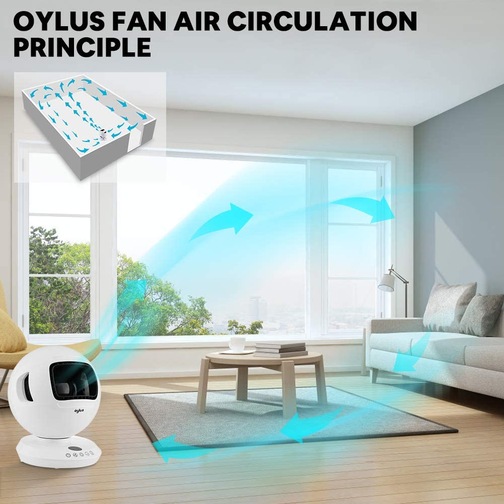 8 Fan Speed 12H Timer Safe Cooling Fan for Bedroom and Home Office Use White Quiet Air Circulator Fan Bladeless table fan with Vertical Horizontal Oscillating Remote Control