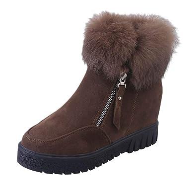 ❤️Botas de Nieve Mujer Invierno,Rabbit Hair Short Tube Botas de Piel, Botas de Cremallera Laterales para Mujer Botas de Nieve y Botas elevadas de ...
