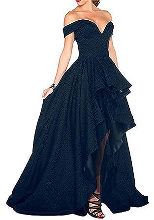 BaiYiYan Womens Prom Dress Evening Party Dresses Hi-Lo Off Shoulder Black Tulle B4 Black
