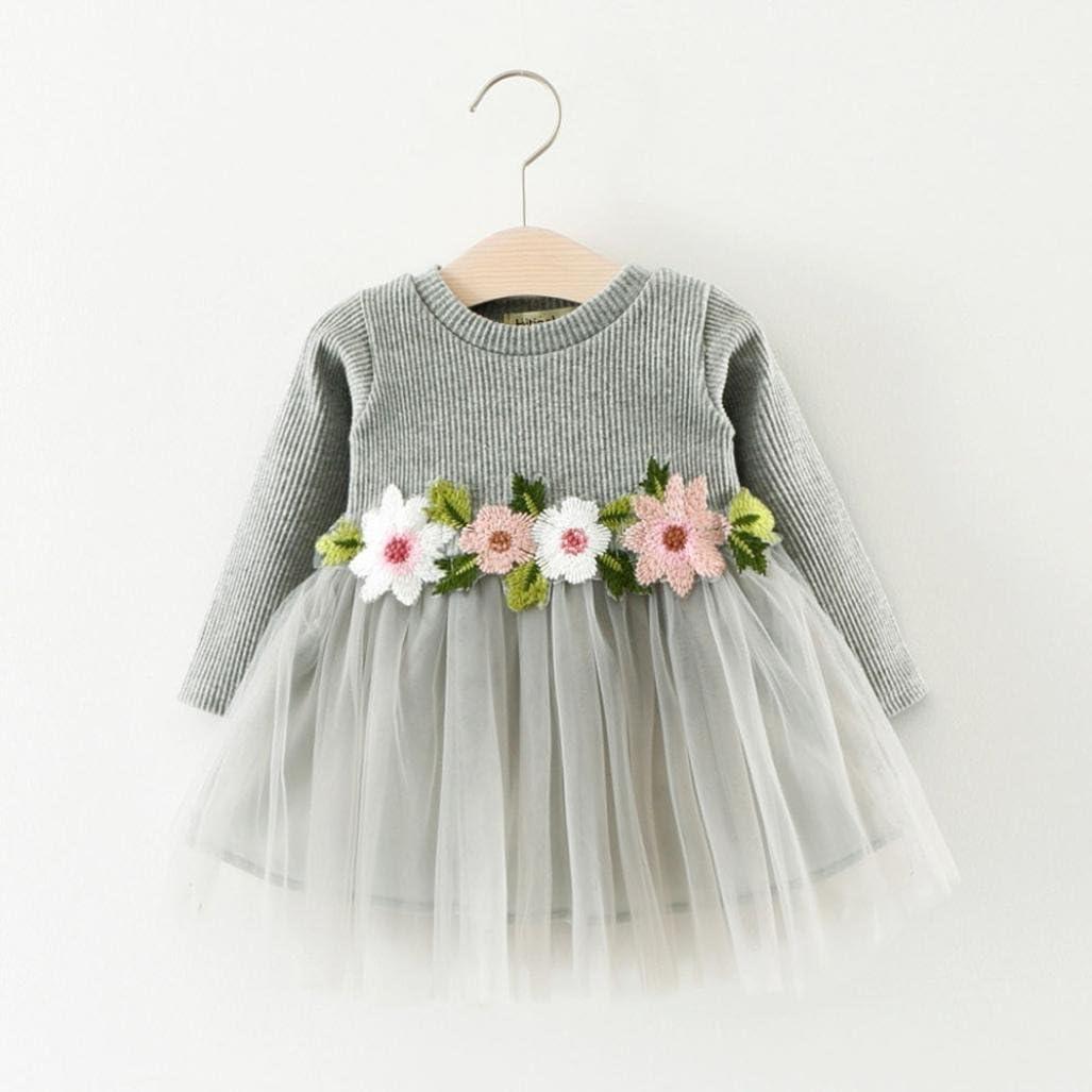 AMSKY Toddler Infant Baby Girls Floral Long Sleeve Brithday Princess Dresses Tulle Dresses Mini Skirts