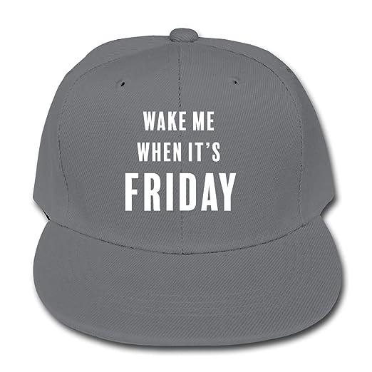 Amazon.com  Wake Me When It s Friday Plain Snapback Cap Solid Color ... d018dd07011