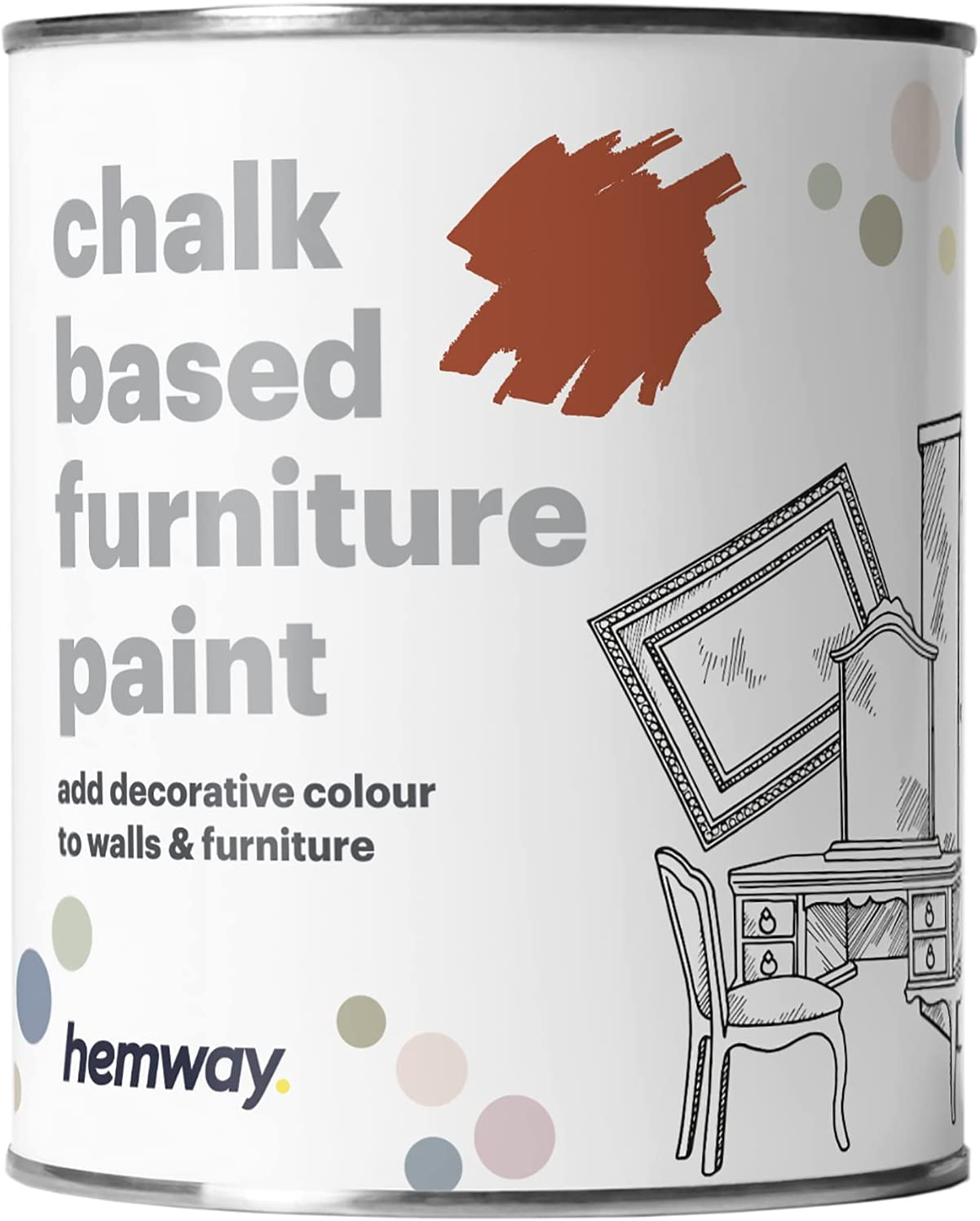 Hemway Red Oxide Chalk Based Furniture Paint Matt Finish Wall and Upcycle DIY Home Improvement 1L / 35oz Shabby Chic Vintage Chalky