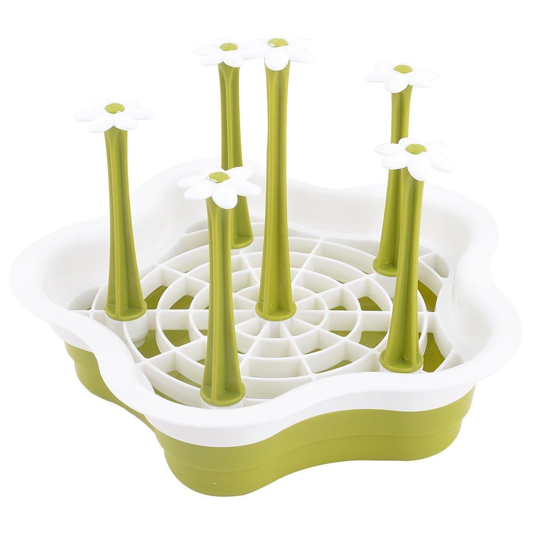 sourcing map Cucina domestici plastica bottiglia staccabile coppa vetro vassoio essiccazione titolare verde