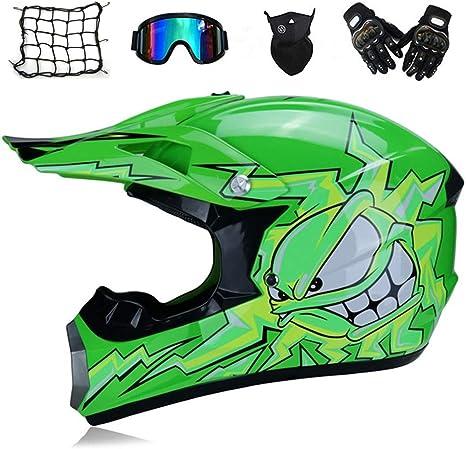 Cross Helm Full Face MTB Helm Motorradhelm Schutzhelm Set f/ür ATV Downhill Enduro Sport Sicherheit Schutz 5 St/ück Gr/ün//Cartoon Abnehmbar Futter MRDEAR Motocross Helm mit Brille