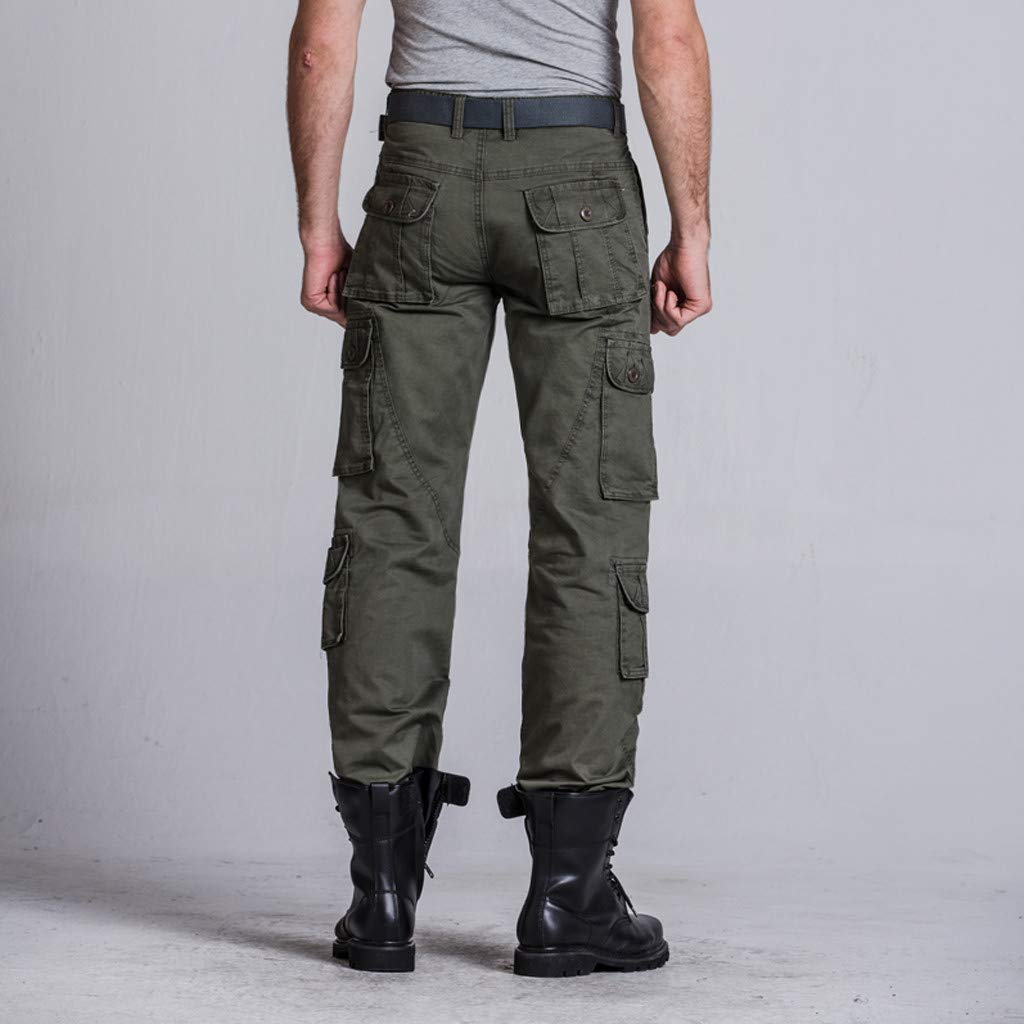 IEasⓄn Mens Longs Cargo Pants,Man Fashion Handsome Loose Casual Multi-Pocket Tooling Pants Trousers