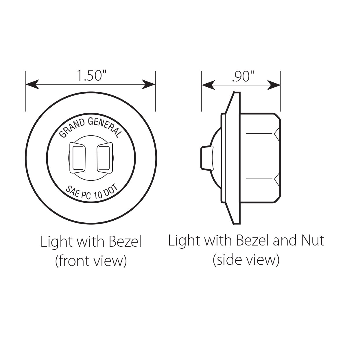 """UTVs GG Grand General Grand General 75270 1/"""" Dual Function Mini Wide Angle LED Light with Chrome Plastic Bezel for Trucks ATVs Trailers RVs Amber"""