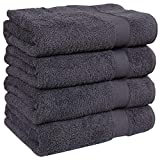 Extra Large 4 Pieces Bath Towel Set 27x54Inches Oversized Luxury Premium Soft 100% Ring Spun Cotton For Hotel & Spa Highly Absorbent Bath Towel Sets Hotel Quality Charcoal Grey Gift Wrapped