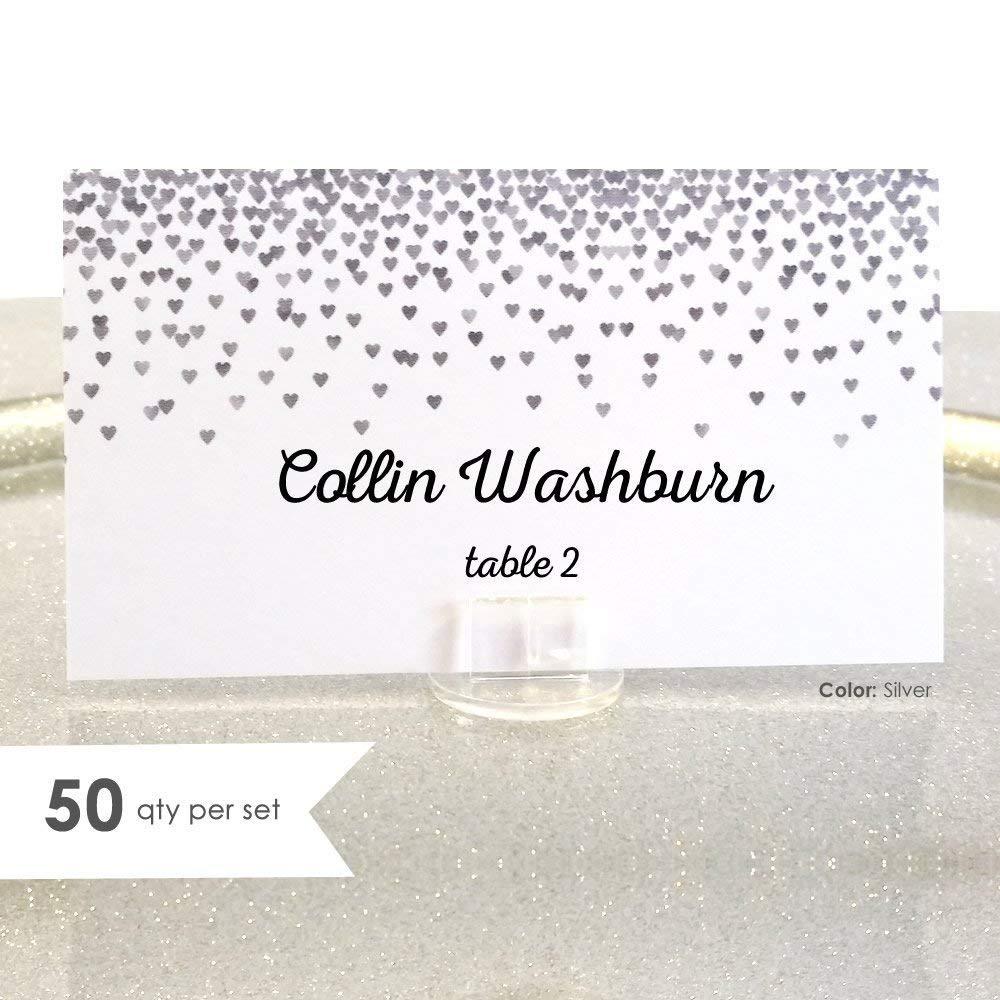Silver Wedding Wedding Place Cards Silver Place Cards Wedding Name Cards 50 Folded Place Cards Wedding PlaceCards Escort Cards Wedding