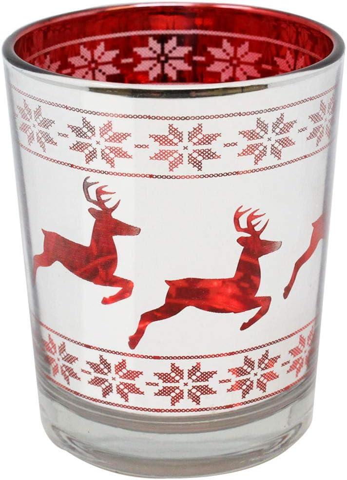 Libra Reindeer Frosted Green Large Hurricane Candle Holder Christmas Animal Deer