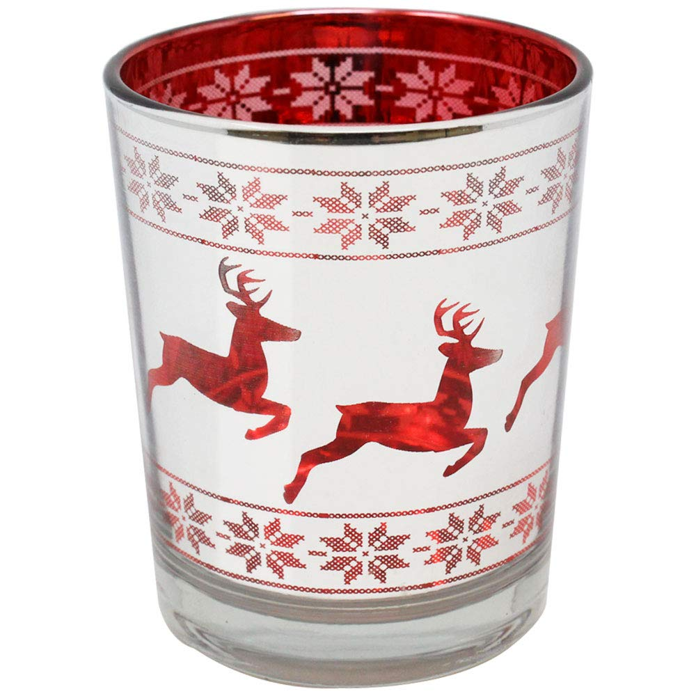 Just Artifacts Christmas Metallic Votive Candle Holder 2.75'' H - Silver and Red Dashing Deer (Set of 6) - Glass Votive Candle Holders for Weddings and Home Décor