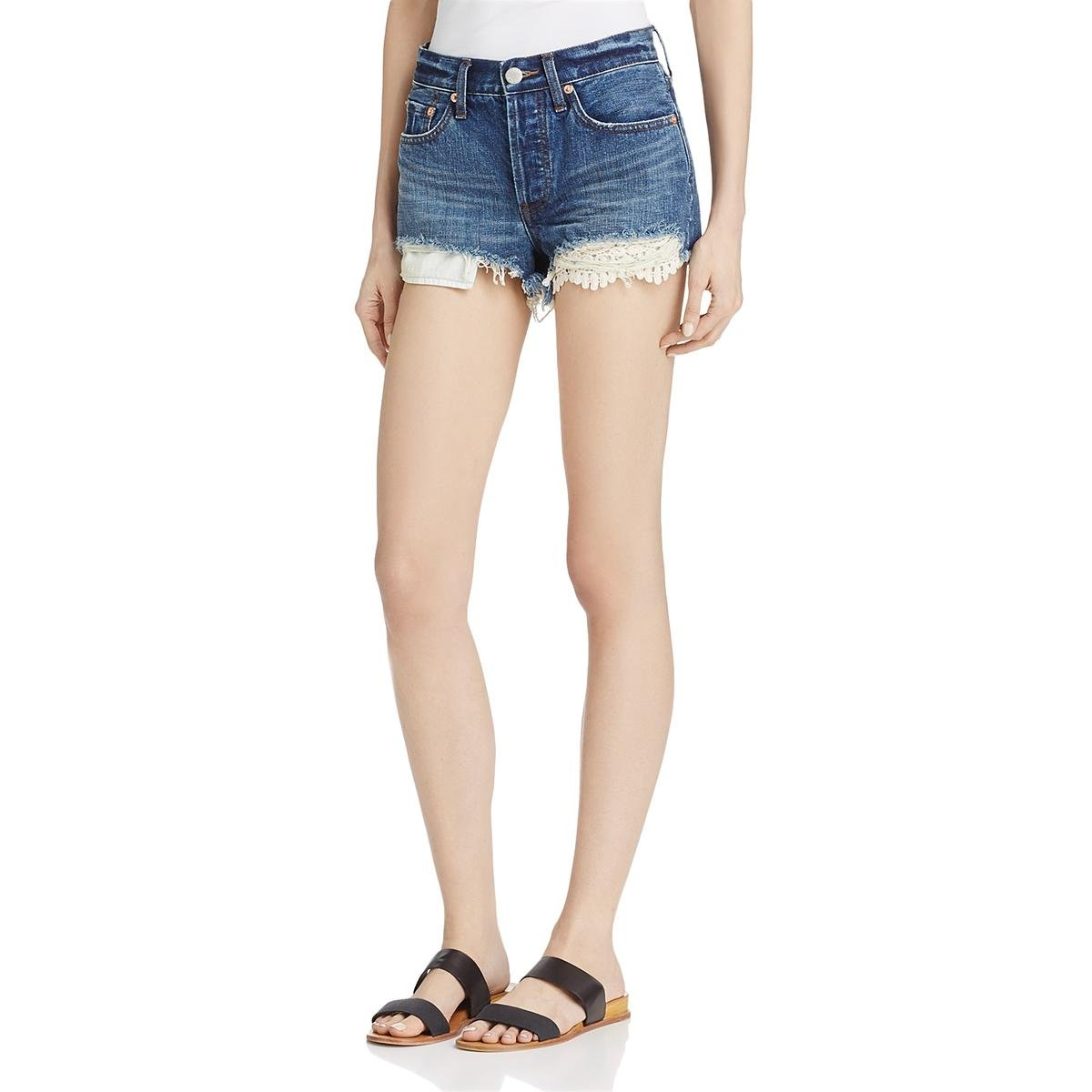 Free People Womens Daisy Denim Lace Inset Cutoff Shorts Blue 30