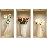 The Nisha Art Magic 3D Vinyl Removable Wall Sticker Decals DIY, Set of 3, Red and White Vases 069-AU