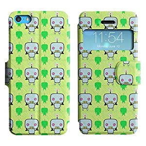 Be-Star Diseño Impreso Colorido Slim Casa Carcasa Funda Case PU Cuero - Stand Function para Apple iPhone 5c ( Weird Robot )