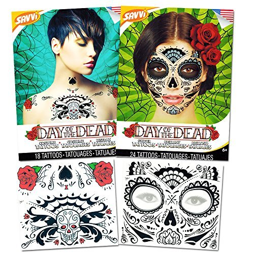 Day of the Dead Sugar Skull Chest and Face Tattoo Kits -- 2 Chest and Face Temporary Tattoo Sets (Red Roses, Skull, Glitter Design) (Makeup Halloween Skull Sugar)