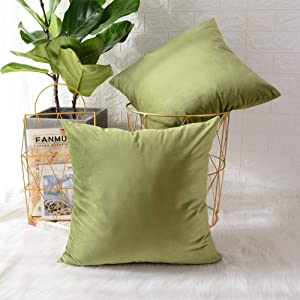 MERNETTE New Year/Christmas Decorations Velvet Soft Decorative Square Throw Pillow Cover Cushion Covers Pillowcase, Home Decor for Party/Xmas 24x24 Inch/60x60 cm, Chrome Green, 2 Pieces